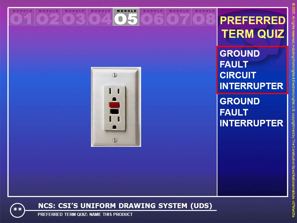 TERM QUIZ PREFERRED GROUND FAULT CIRCUIT INTERRUPTER