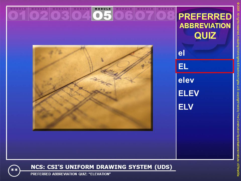 QUIZ PREFERRED el EL elev ELEV ELV ABBREVIATION