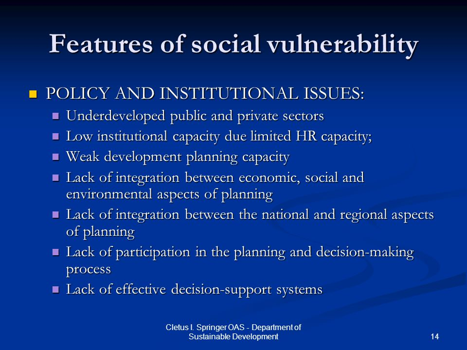 Features of social vulnerability