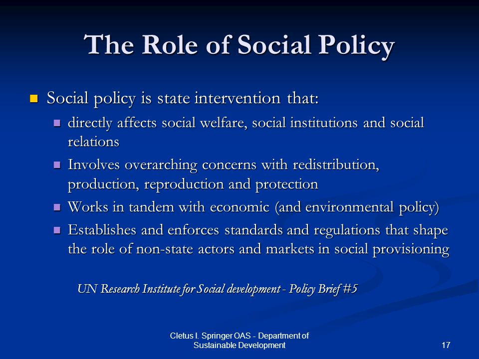 The Role of Social Policy