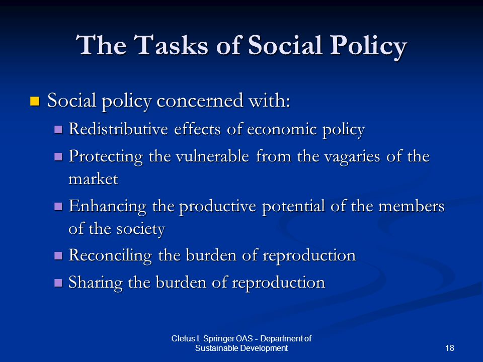 The Tasks of Social Policy