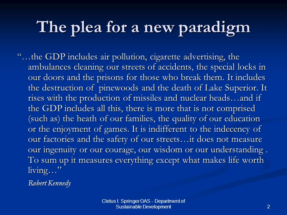 The plea for a new paradigm