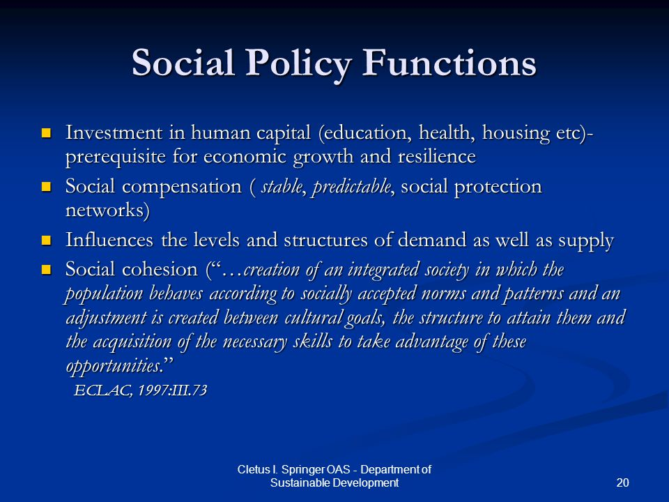 Social Policy Functions