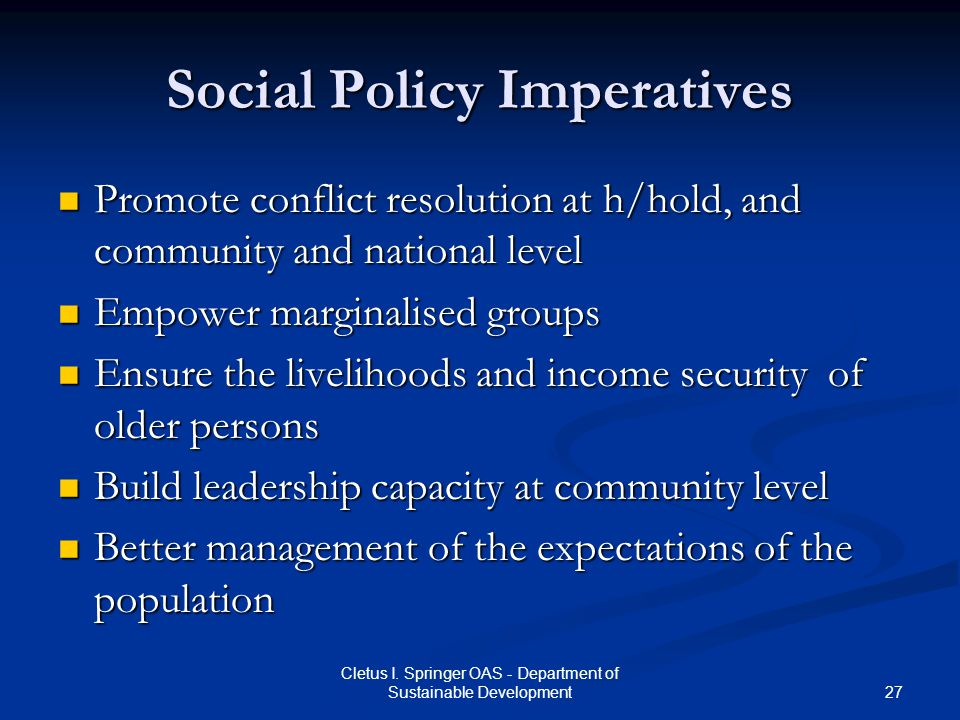 Social Policy Imperatives