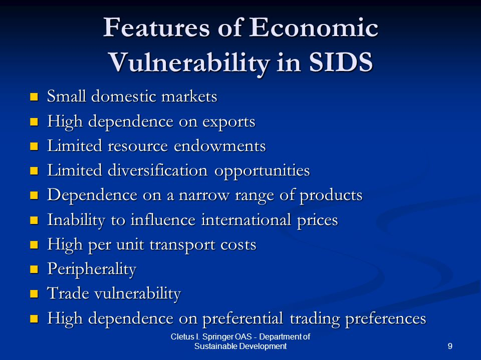 Features of Economic Vulnerability in SIDS