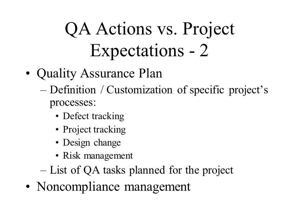 QA Actions vs. Project Expectations - 2