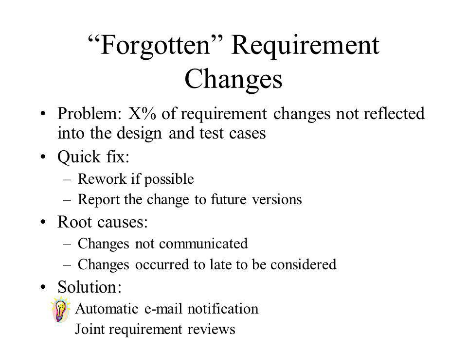 Forgotten Requirement Changes
