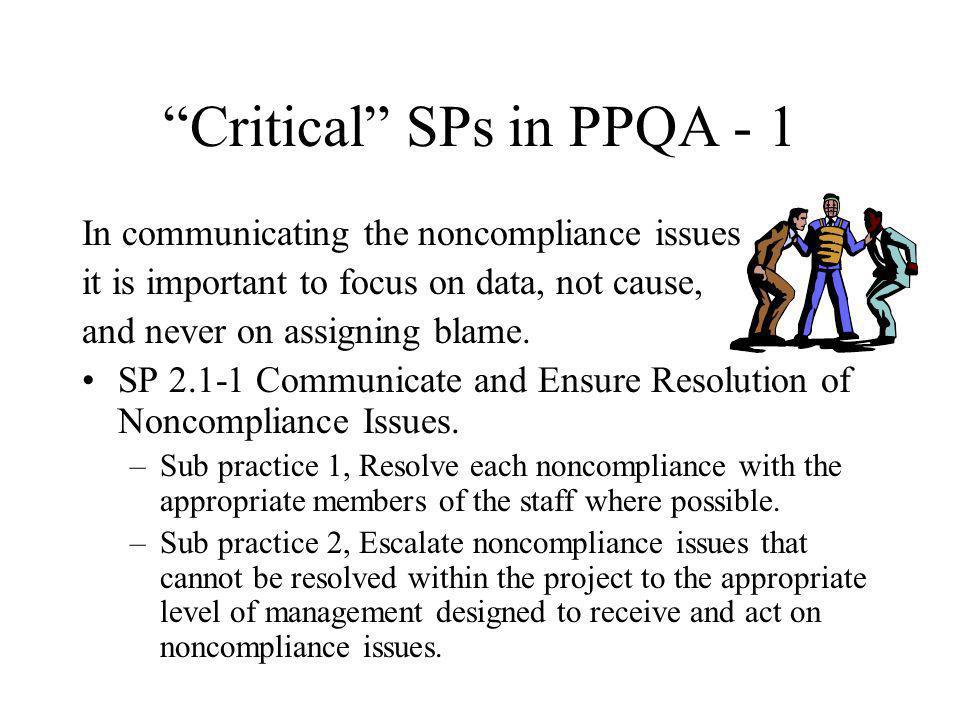 Critical SPs in PPQA - 1