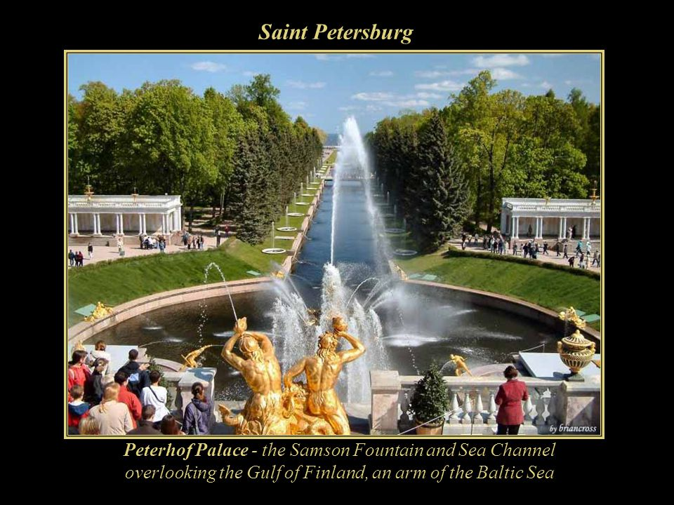 Saint Petersburg Peterhof Palace - the Samson Fountain and Sea Channel overlooking the Gulf of Finland, an arm of the Baltic Sea.