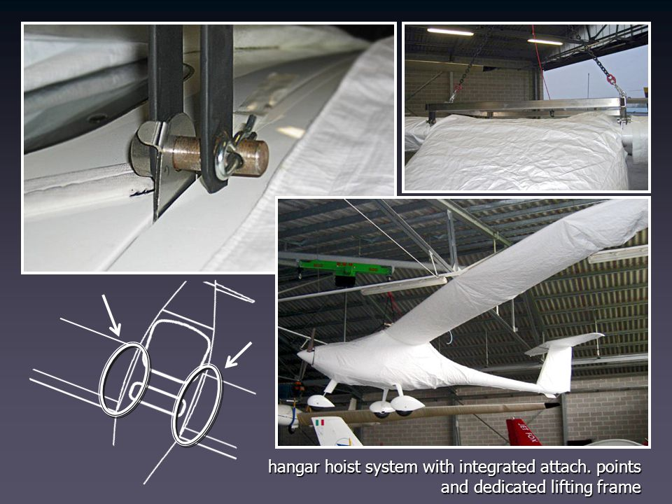 hangar hoist system with integrated attach. points
