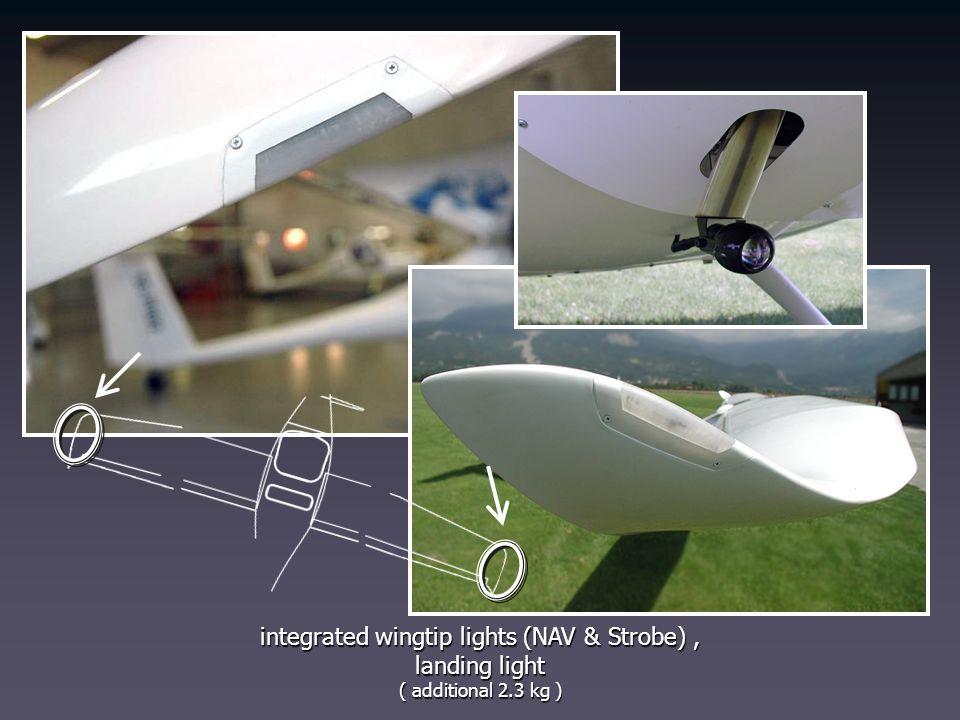 integrated wingtip lights (NAV & Strobe) , landing light