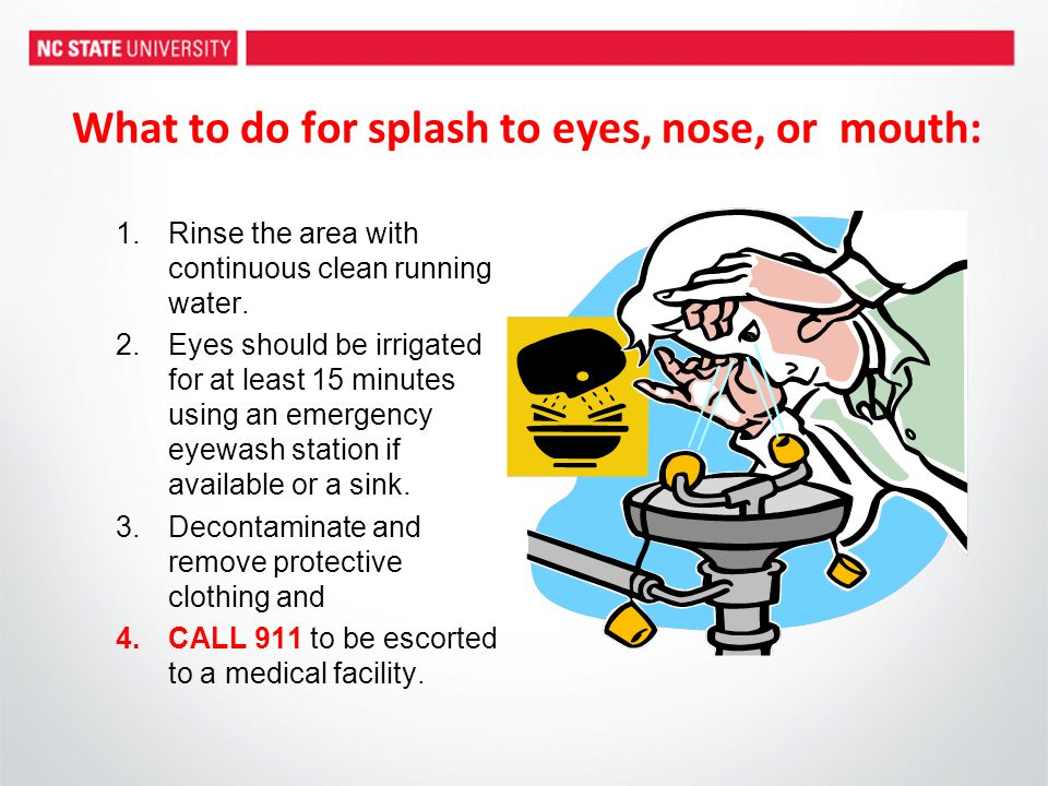 What to do for splash to eyes, nose, or mouth: