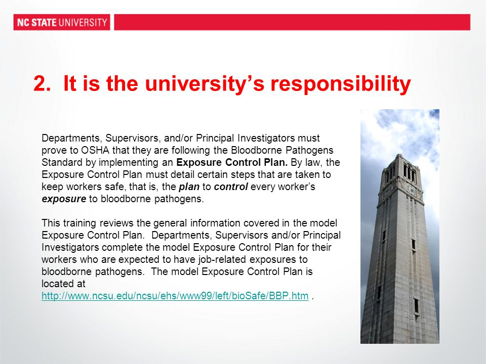 2. It is the university's responsibility