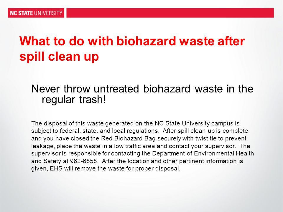 What to do with biohazard waste after spill clean up