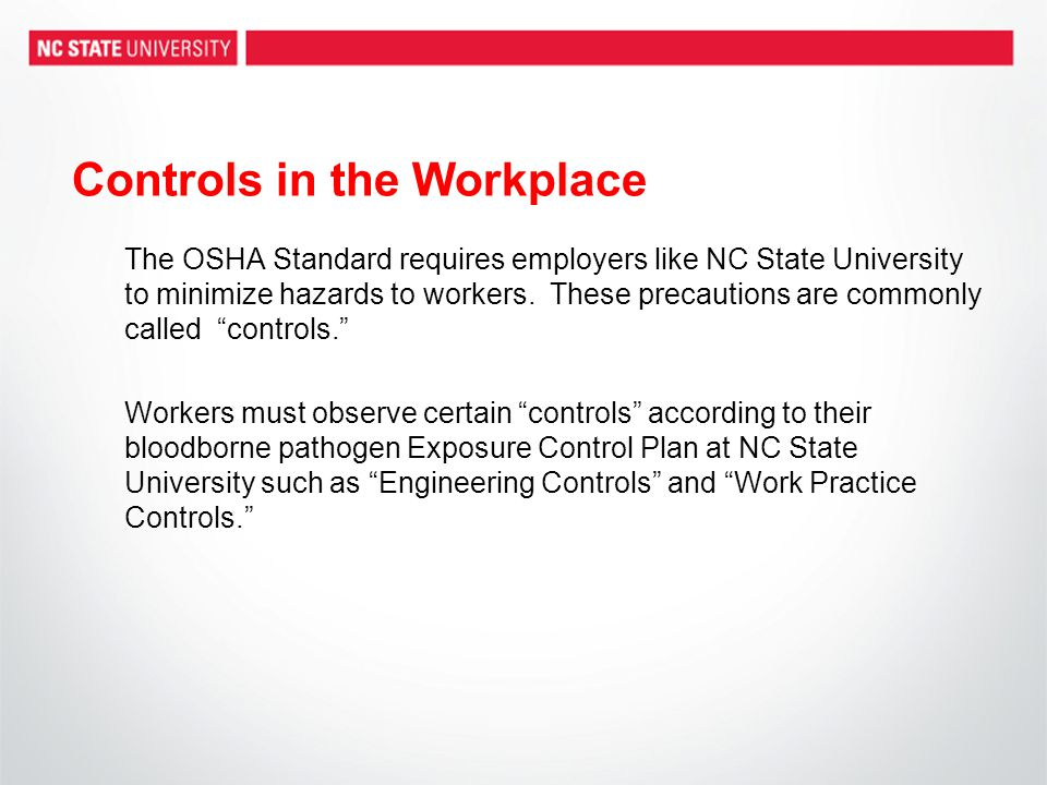 Controls in the Workplace