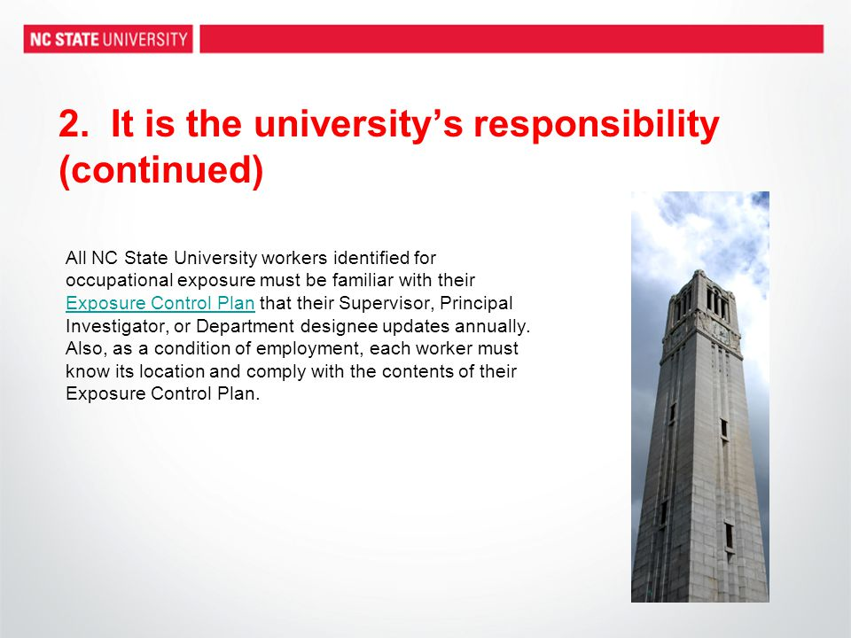 2. It is the university's responsibility (continued)
