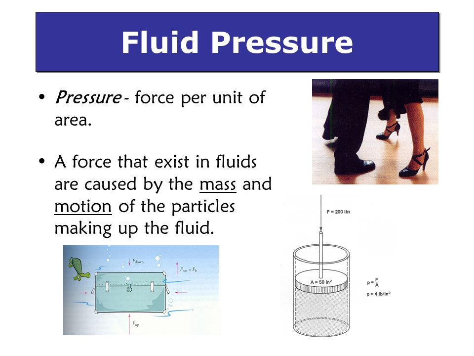 Fluid Pressure Pressure - force per unit of area.