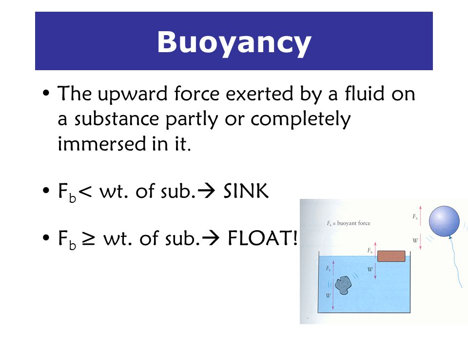 Buoyancy The upward force exerted by a fluid on a substance partly or completely immersed in it. Fb< wt. of sub. SINK.