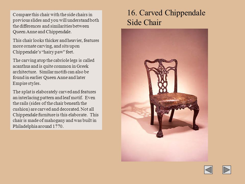 16. Carved Chippendale Side Chair