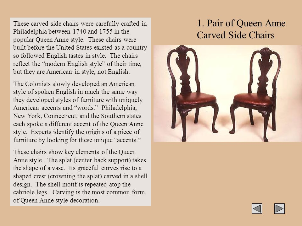 1. Pair of Queen Anne Carved Side Chairs