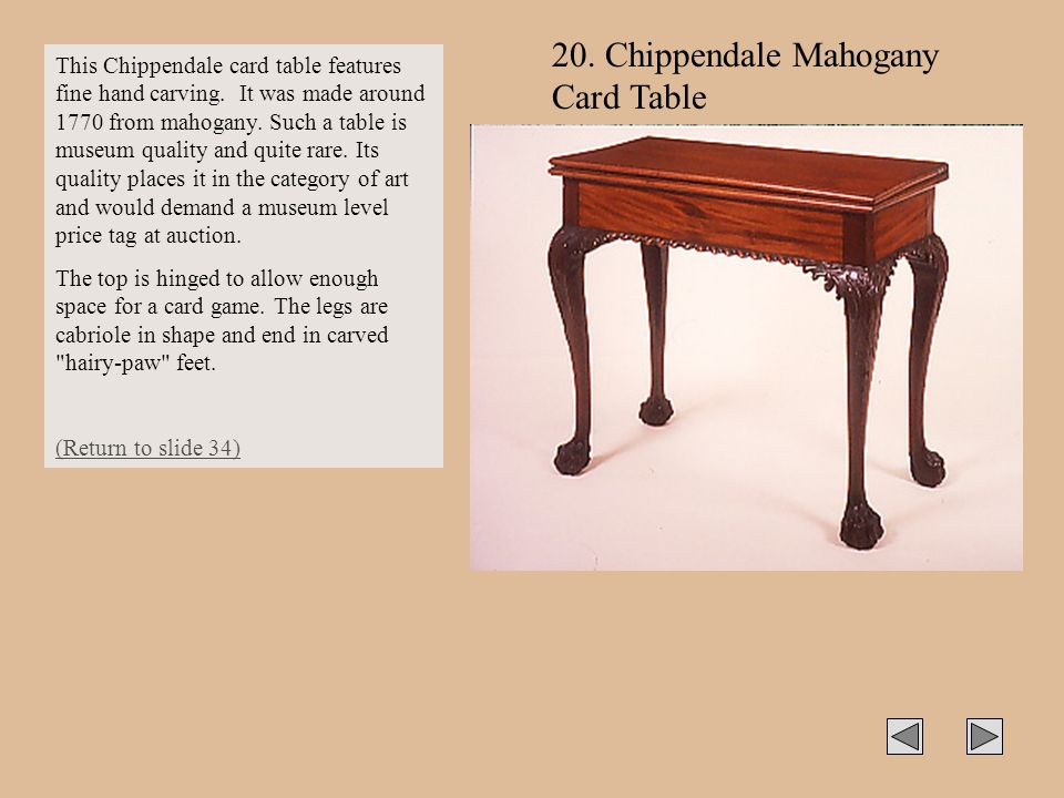 20. Chippendale Mahogany Card Table