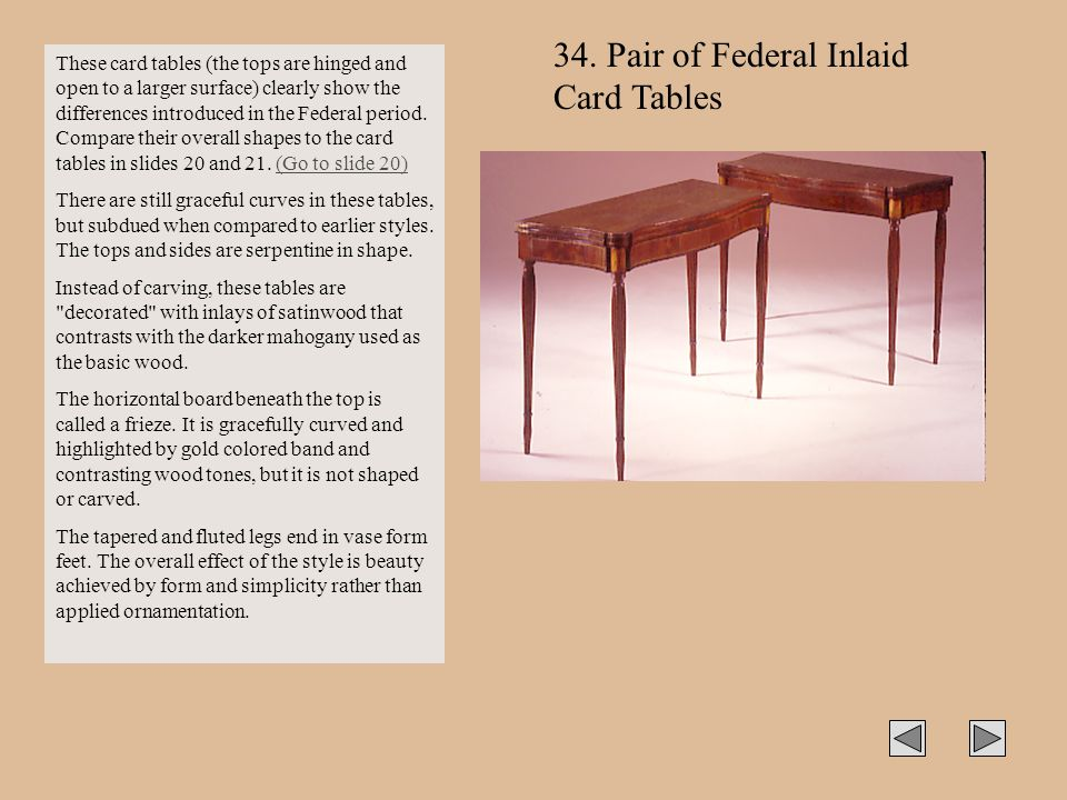 34. Pair of Federal Inlaid Card Tables