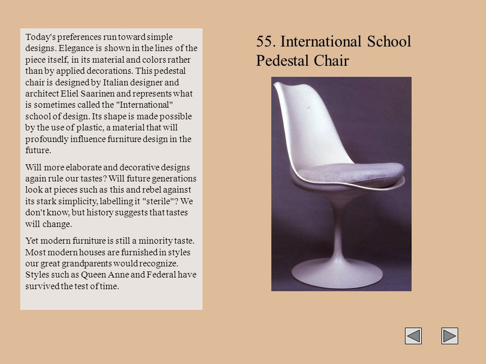 55. International School Pedestal Chair