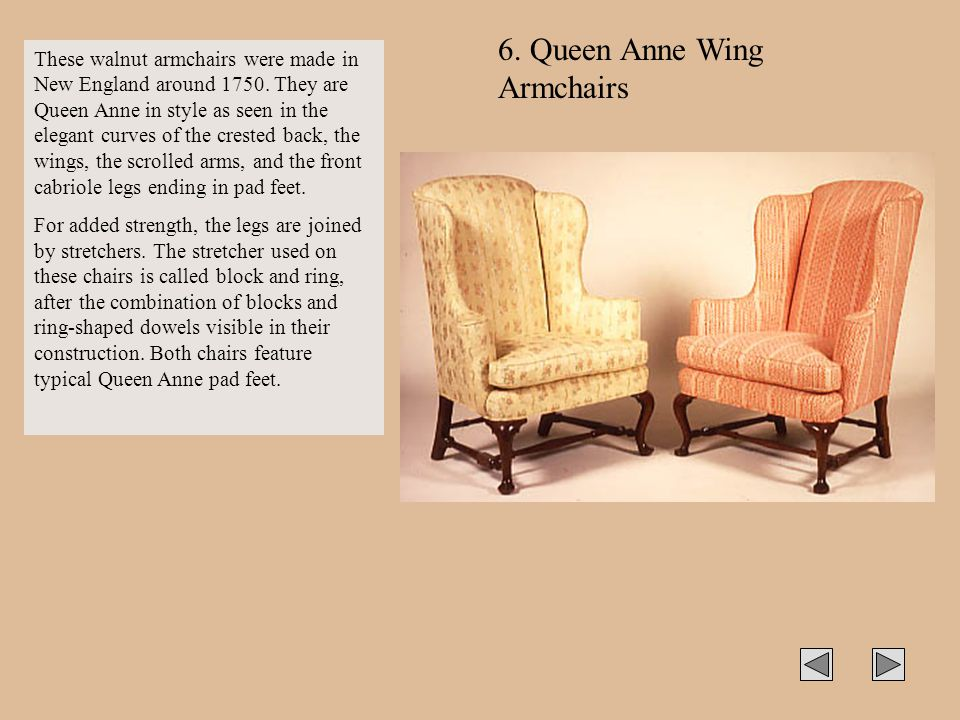 6. Queen Anne Wing Armchairs
