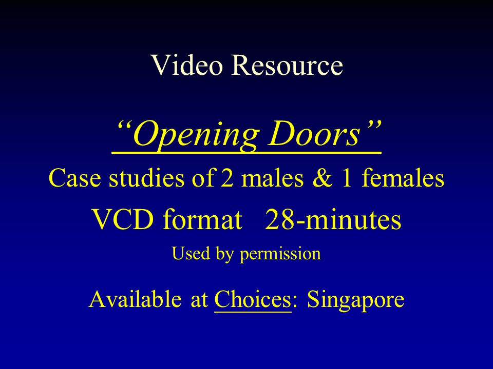 Opening Doors Video Resource VCD format 28-minutes