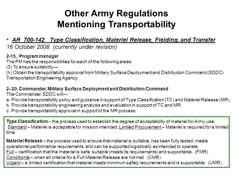 Other Army Regulations Mentioning Transportability