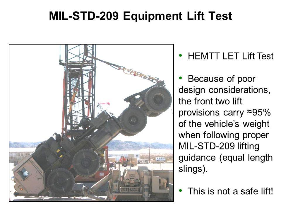 MIL-STD-209 Equipment Lift Test