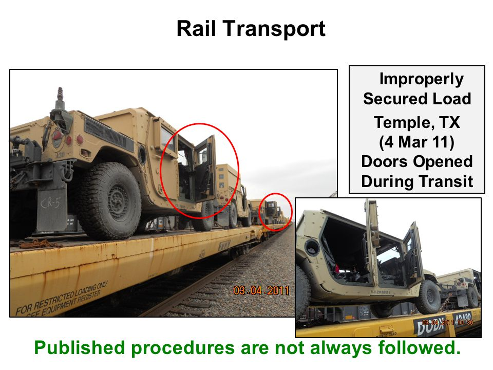 Rail Transport Published procedures are not always followed.