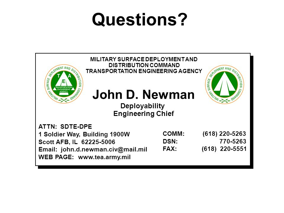 MILITARY SURFACE DEPLOYMENT AND TRANSPORTATION ENGINEERING AGENCY