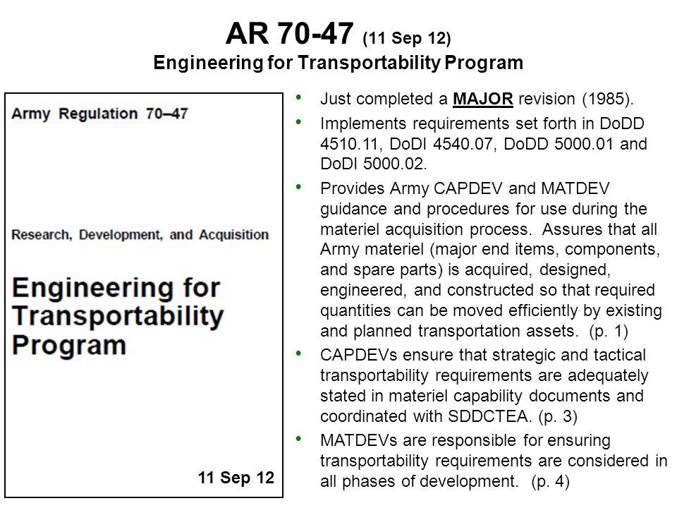 Engineering for Transportability Program