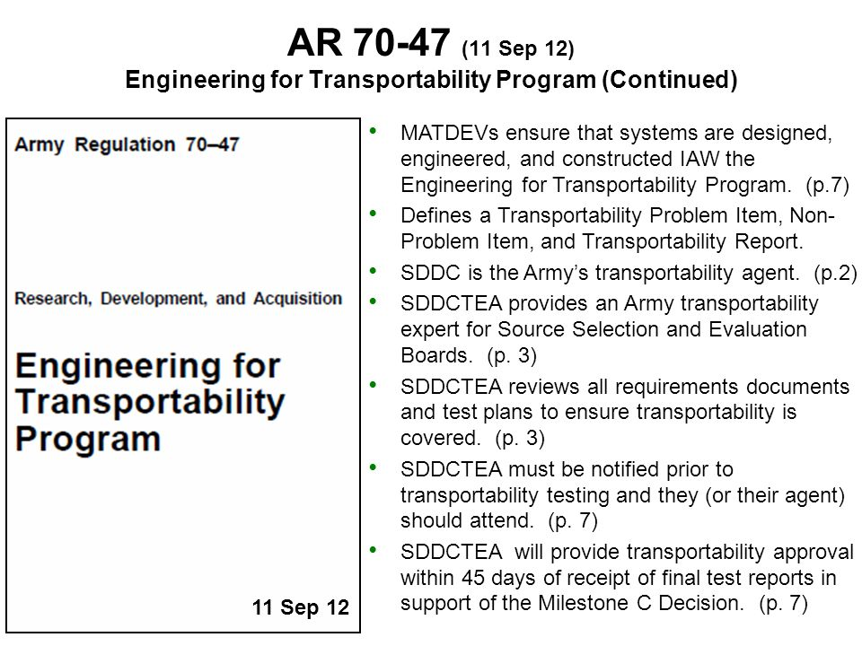 Engineering for Transportability Program (Continued)