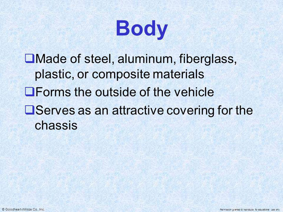 Body Made of steel, aluminum, fiberglass, plastic, or composite materials. Forms the outside of the vehicle.