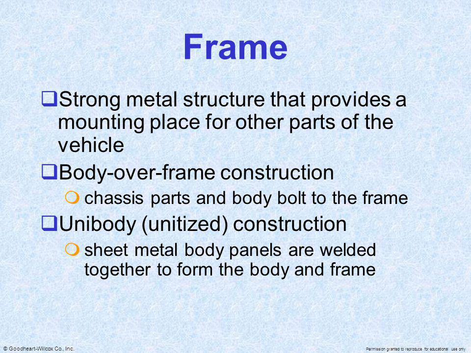 Frame Strong metal structure that provides a mounting place for other parts of the vehicle. Body-over-frame construction.
