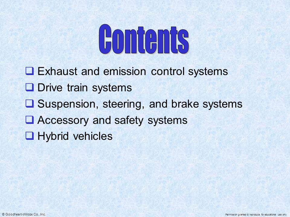 Contents Exhaust and emission control systems Drive train systems
