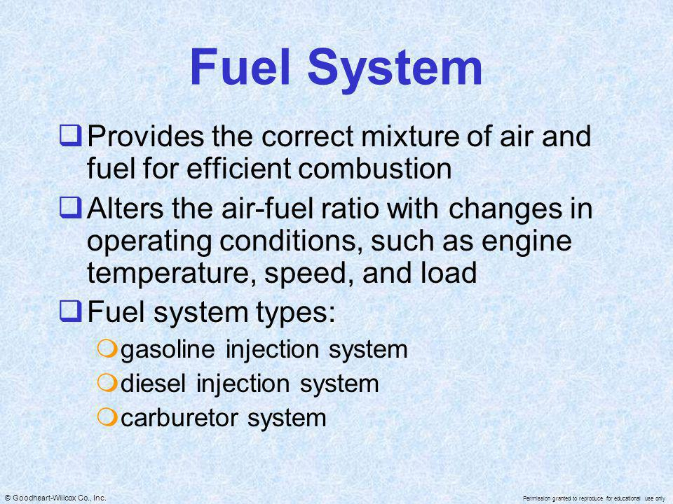 Fuel System Provides the correct mixture of air and fuel for efficient combustion.