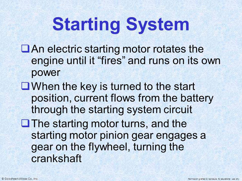 Starting System An electric starting motor rotates the engine until it fires and runs on its own power.