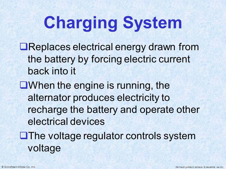 Charging System Replaces electrical energy drawn from the battery by forcing electric current back into it.