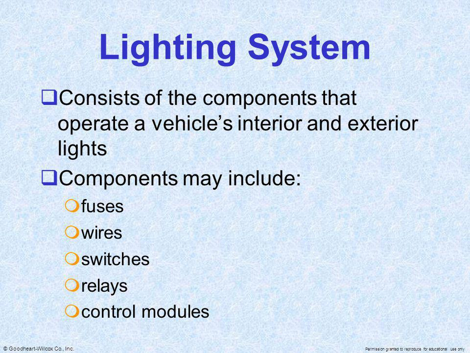 Lighting System Consists of the components that operate a vehicle's interior and exterior lights. Components may include: