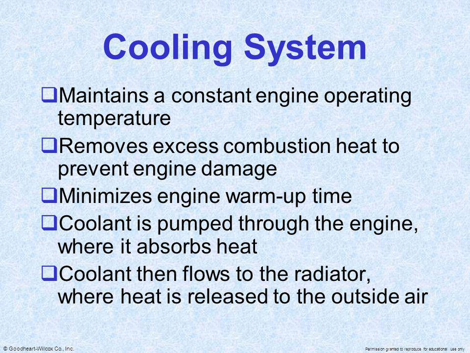 Cooling System Maintains a constant engine operating temperature