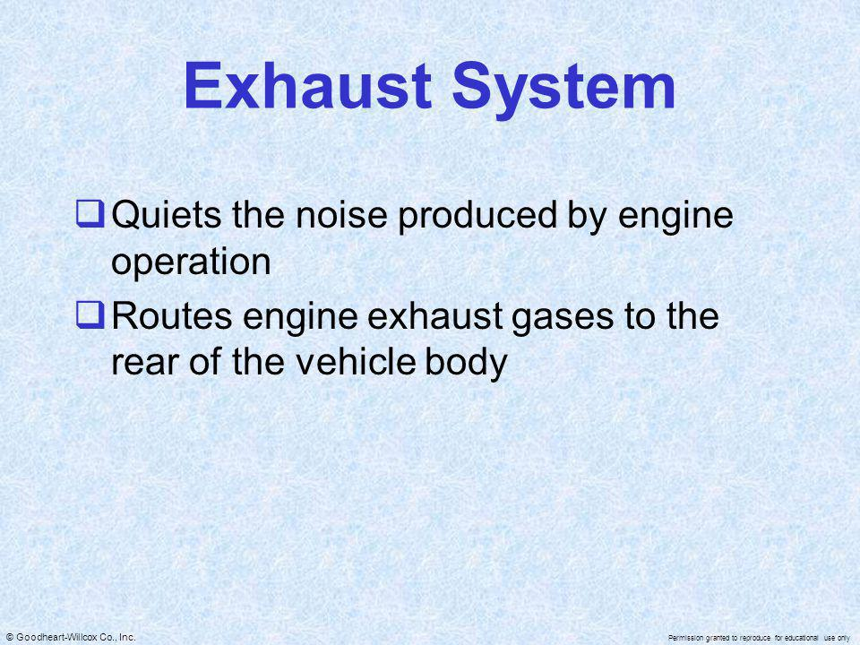 Exhaust System Quiets the noise produced by engine operation