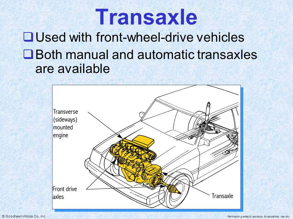 Transaxle Used with front-wheel-drive vehicles