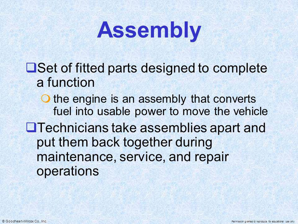 Assembly Set of fitted parts designed to complete a function