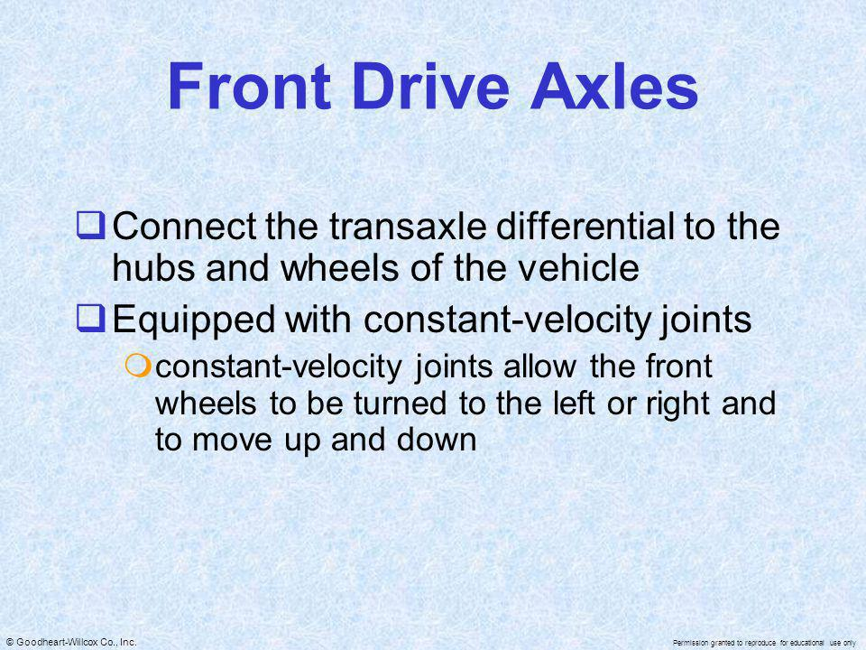 Front Drive Axles Connect the transaxle differential to the hubs and wheels of the vehicle. Equipped with constant-velocity joints.