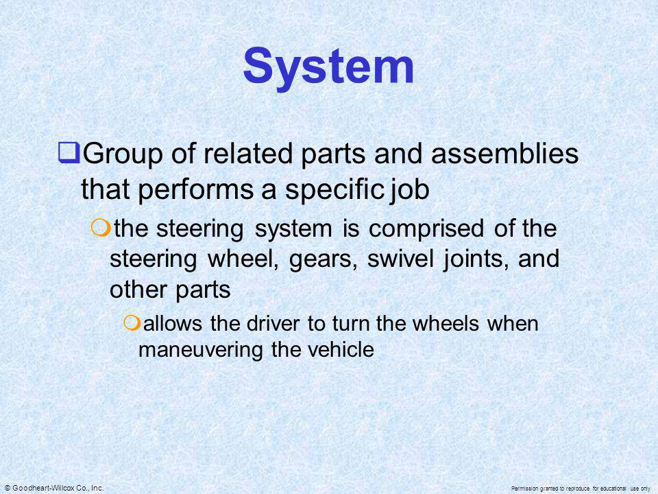 System Group of related parts and assemblies that performs a specific job.