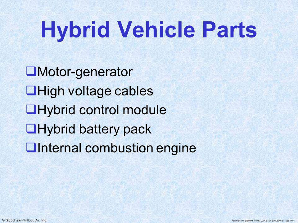 Hybrid Vehicle Parts Motor-generator High voltage cables