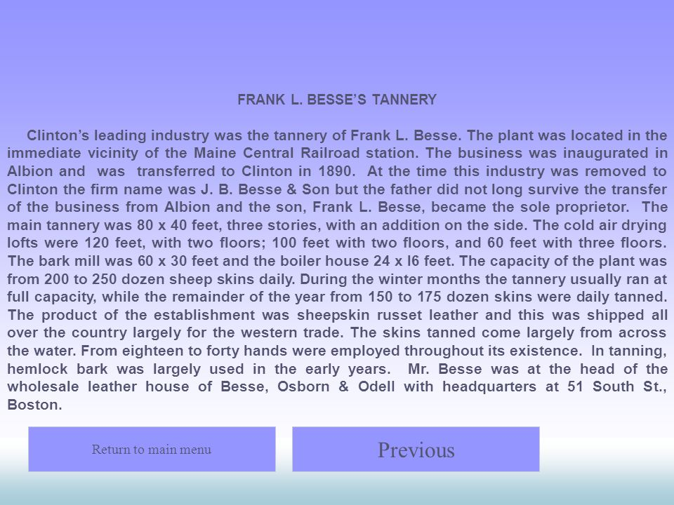 FRANK L. BESSE'S TANNERY